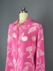 Vintage Rosa Cha Blouse / Preppy Pink Seashells Tops ThisBlueBird - Sale