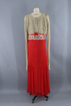 Vintage Sequined Silk Chiffon Maxi Dress-ThisBlueBird - Modern Vintage