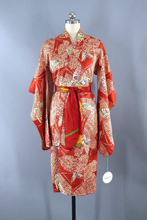 Vintage Short Kimono Robe / Red Orange Butterflies-ThisBlueBird - Modern Vintage