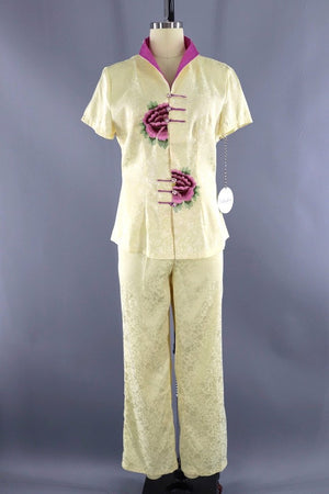 Vintage Silk Embroidered Loungewear Set-ThisBlueBird - Modern Vintage