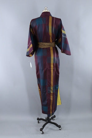 Vintage Silk Kimon Robe / Purple & Gold Plaid-ThisBlueBird - Modern Vintage