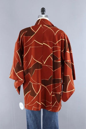 Vintage Silk Kimono Cardigan / Brown Abstract-ThisBlueBird - Modern Vintage