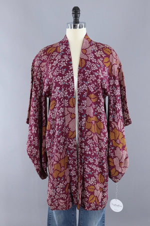 Vintage Silk Kimono Cardigan Jacket / Cranberry Red and Gold Floral-ThisBlueBird - Modern Vintage