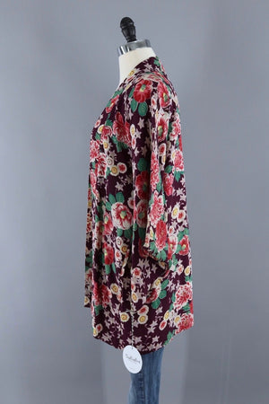 Vintage Silk Kimono Cardigan Jacket / Purple and Red Floral Print-ThisBlueBird - Modern Vintage
