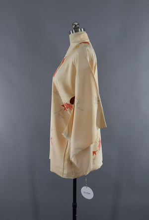 Vintage Silk Kimono Cardigan Jacket / Yellow Orange Maple Leaves-ThisBlueBird - Modern Vintage