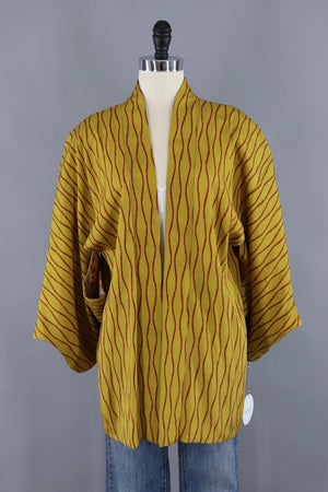 Vintage Silk Kimono Cardigan / Mustard Yellow and Red Stripes - ThisBlueBird