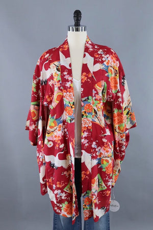 Vintage Silk Kimono Cardigan / Red and White Flying Cranes