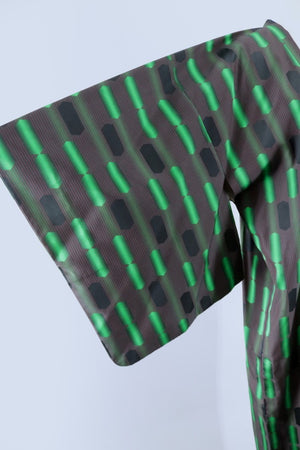 Vintage Silk Kimono Coat Jacket / Black and Green Geometric-ThisBlueBird - Modern Vintage