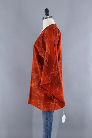 Vintage Silk Kimono Jacket / Orange Maple Leaves-ThisBlueBird - Modern Vintage