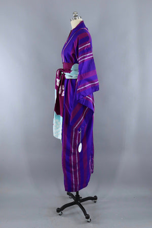 Vintage Silk Kimono Robe / Blue and Purple Stripes-ThisBlueBird - Modern Vintage