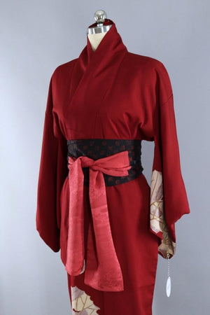Vintage Silk Kimono Robe / Brick Red & Gold Urushi Leaves