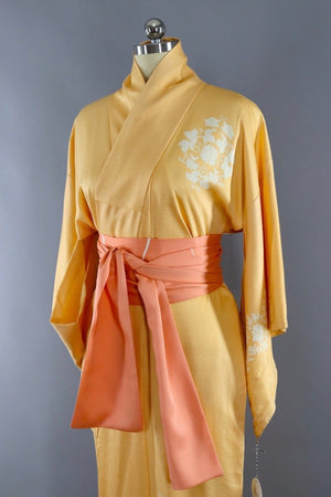Vintage Silk Kimono Robe / Creamsicle Orange Embroidered Peacocks-ThisBlueBird - Modern Vintage