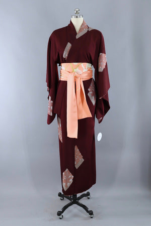 Vintage Silk Kimono Robe / Dark Red with Pink and Silver Ururshi Embroidery-ThisBlueBird - Modern Vintage