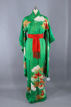 Vintage Silk Kimono Robe Furisode / Kelly Green with Gold and Red Embroidery - ThisBlueBird