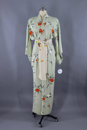 Vintage Silk Kimono Robe / Green Grey and Orange Floral - ThisBlueBird