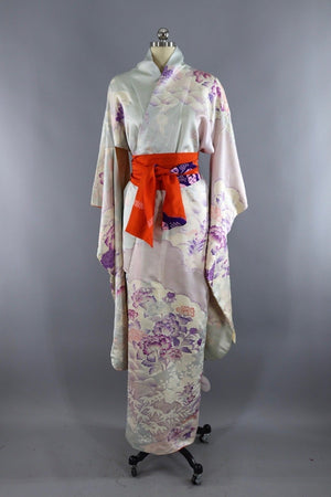 Vintage Silk Kimono Robe / Ice blue and Lavender Floral-ThisBlueBird - Modern Vintage