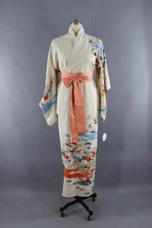 Vintage Silk Kimono Robe in Ivory and Gold Embroidery - ThisBlueBird