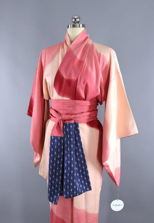 Vintage Silk Kimono Robe in Ivory and Pink Ombre - ThisBlueBird