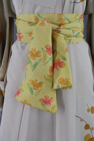 Vintage Silk Kimono Robe / Ivory and Mustard Yellow Floral Branches - ThisBlueBird