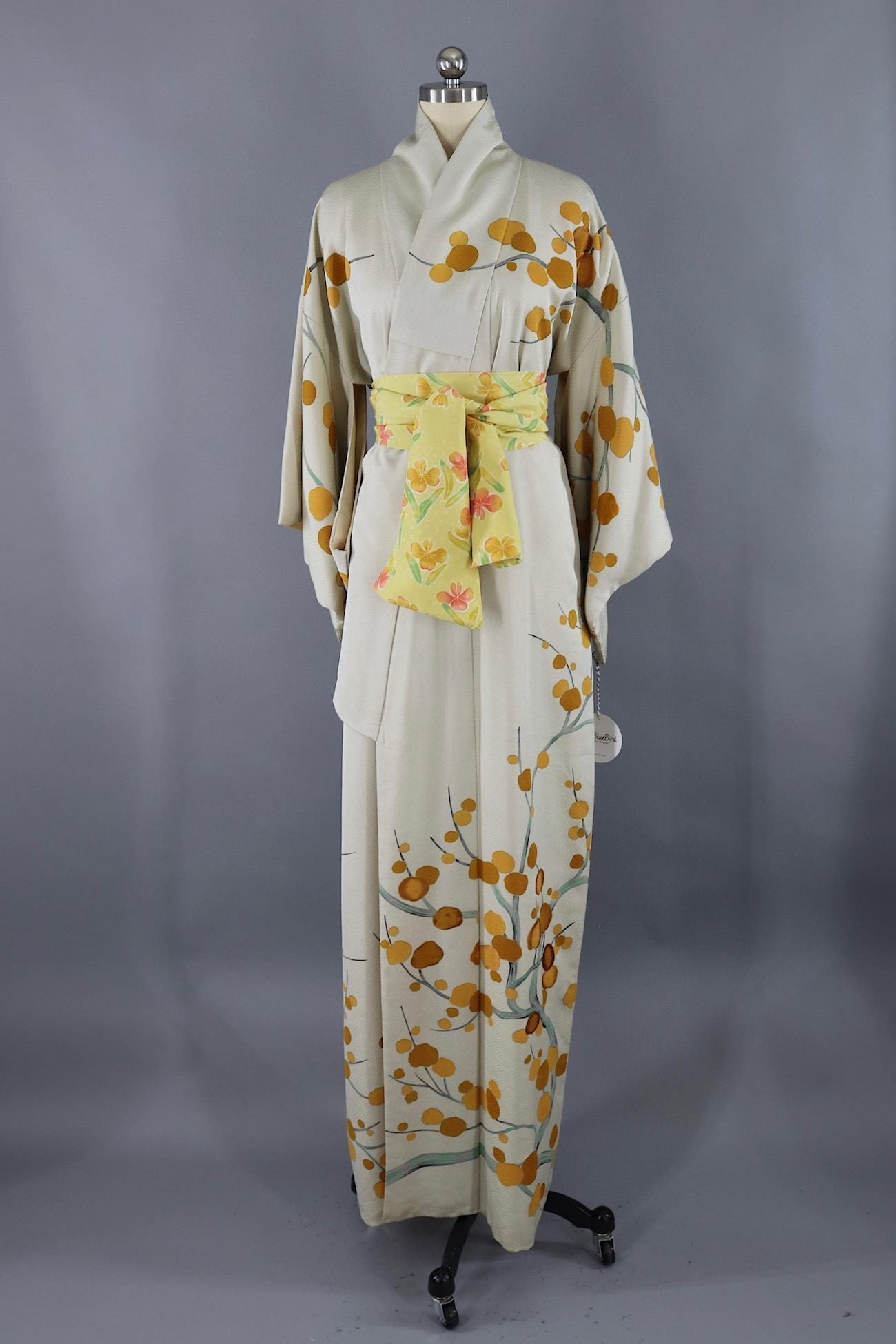 5b453f7930b4 Vintage Silk Kimono Robe / Ivory and Mustard Yellow Floral Branches -  ThisBlueBird