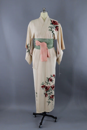 Vintage Silk Kimono Robe / Ivory and Red Roses-ThisBlueBird - Modern Vintage