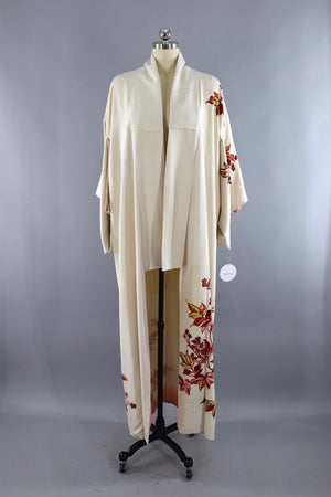 Vintage Silk Kimono Robe / Ivory with Rust Red Floral Print-ThisBlueBird - Modern Vintage