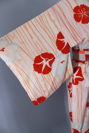 Vintage Silk Kimono Robe Juban / Ivory & Red Morning Glory Floral-ThisBlueBird - Modern Vintage