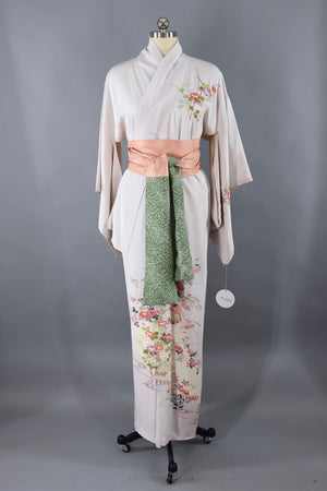 Vintage Silk Kimono Robe / Light Grey and Pink Floral Print - ThisBlueBird