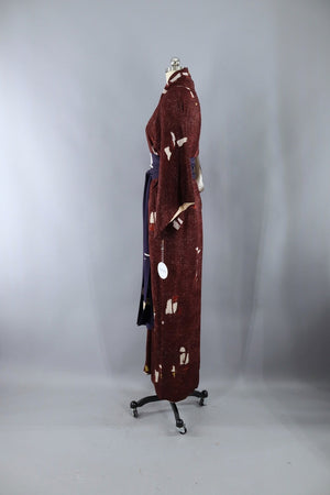 Vintage Silk Kimono Robe / Maroon Brown Abstract-ThisBlueBird - Modern Vintage