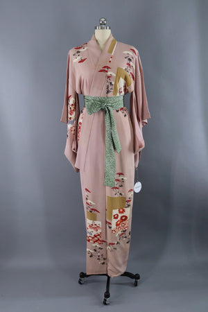 Vintage Silk Kimono Robe / Mauve Pink and Gold Floral-ThisBlueBird - Modern Vintage