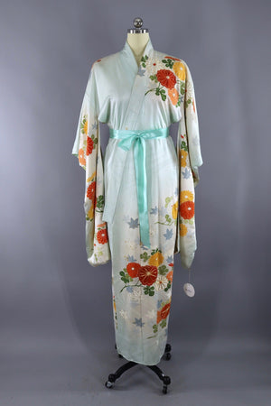 Vintage Silk Kimono Robe / Pale Blue and Orange Floral-ThisBlueBird - Modern Vintage