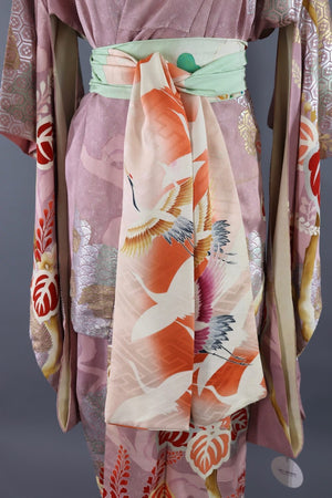 Vintage Silk Kimono Robe / Pastel Orchid and Silver Floral - ThisBlueBird