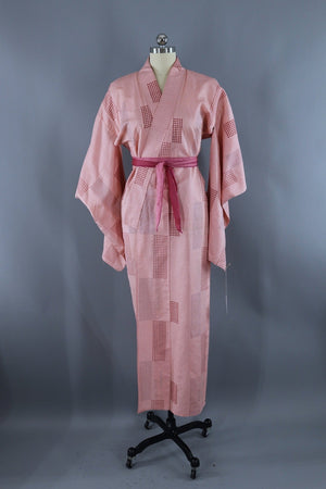 Vintage Silk Kimono Robe / Pink and Red Ikat-ThisBlueBird - Modern Vintage