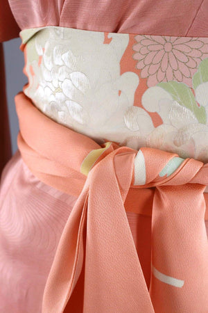 Vintage Silk Kimono Robe / Pink and White Embroidered Floral Ombre-ThisBlueBird - Modern Vintage