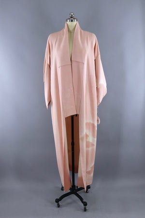 Vintage Silk Kimono Robe / Pink and White Ombre Clouds-ThisBlueBird - Modern Vintage