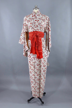 Vintage Silk Kimono Robe / Red Black and White Floral - ThisBlueBird
