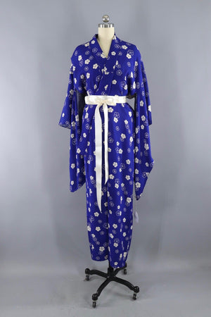 Vintage Silk Kimono Robe / Royal Blue and White Floral-ThisBlueBird - Modern Vintage