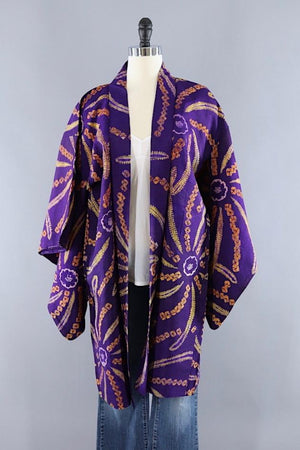 Vintage Silk Kimono Robe / Royal Purple and Gold Shibori Tie Dyed-ThisBlueBird - Modern Vintage