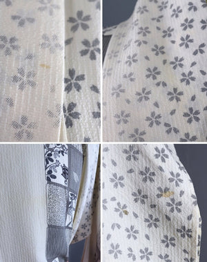 Vintage Silk Kimono Robe / White and Grey Floral