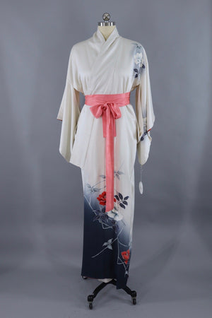 Vintage Silk Kimono Robe / White Blue and Red Floral - ThisBlueBird