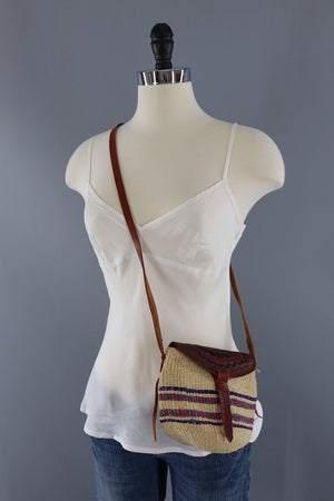 Vintage Sisal & Leather Purse-ThisBlueBird - Modern Vintage
