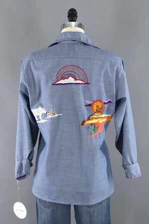 Vintage Southwest Red Rocks Embroidered Shirt-ThisBlueBird - Modern Vintage