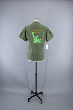 Vintage Statue of Liberty Embroidered 70s Camo Shirt / I Lift My Lamp Beside the Golden Door - ThisBlueBird