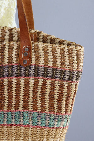Vintage Straw Market Tote with Leather Handles / Tan Pink Aqua Stripes-ThisBlueBird - Modern Vintage