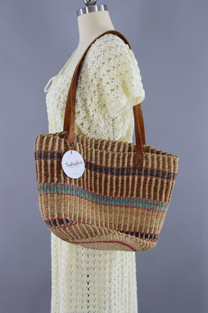 Vintage Straw Market Tote with Leather Handles / Tan Pink Aqua Stripes - ThisBlueBird
