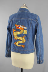 Vintage Style Denim Jean Jacket with Gold DRAGON Embroidery Outerwear ThisBlueBird