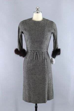 Vintage Toni Todd Wool Tweed Dress with Fur Trim - ThisBlueBird