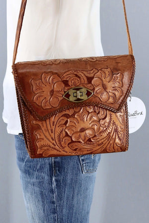 Vintage tooled Leather Shoulder Bag-ThisBlueBird - Modern Vintage