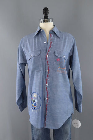 Vintage Travel Embroidered Shirt-ThisBlueBird - Modern Vintage