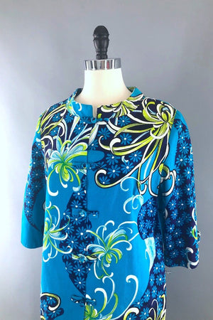 Vintage Turquoise Mod Floral Print Tunic-ThisBlueBird - Modern Vintage